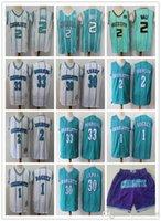 "Herren Charlotte ""Hornets"" Jersey 33 Alonzo Trauer 2 Larry Johnson 1 BUGUE 30 Dell Curry 2 Lamelo Ball Basketball Shorts Trikots"