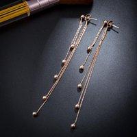 Stud 2021 Korean Earrings Titanium Steel Tassel Rose Gold Long Necklace Ornament For Women