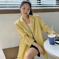 여성용 정장 Blazers Pinkou 여성 우아한 캔디 컬러 얇은 블레이저 오렌지 노란색 흰색 긴 소매 자켓 여름 세련된 캐주얼 코트 톱 캘리포니아