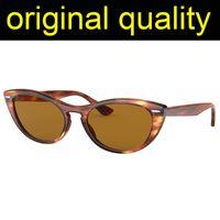 Лучи моды 4314 Дамы Солнцезащитные очки Cat Eye Солнцезащитные очки Женщины Ацетат Рамка Стекло Линзы Солнцезащитные Очки Женская Мода Для Женщин