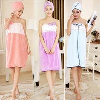 Towel Summer Ladies Bath Skirt Beauty Salon Bathrobe Spa Clothes Sexy +dry Hair Set Wearable