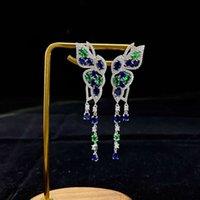 HBP Fashion Shipai Schmuck Lange Weibliche Schmetterling Luxus Voll Diamant 5A Zirkon Persönlichkeit S925 Sterling Silber Ohrringe