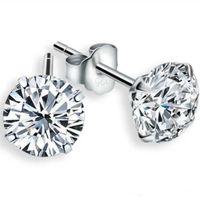 925 стерлингового шпилька серебряная мода ювелирные изделия романтические прелемы этнические свадьбы винтажные кристалл 4 коготь серьги