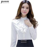 Naviu высококачественный белый блузка мода женский полная рукава повседневная рубашка элегантная взволнованная воротник офис леди вершины женщин носить 210308