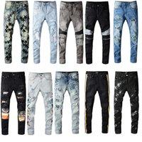 Top Quality Hommes Entrée en détresse Jeans Skinny Slim Fit Moto Biker Denim pour hommes Fashion Hip Hop Pants Cool Streetwear