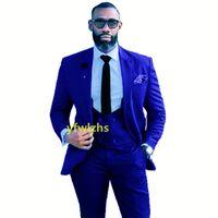 Customize tuxedo One Button Handsome Peak Lapel Groom Tuxedos Men Suits Wedding Prom Dinner Man Blazer(Jacket+Pants+Tie+Vest) W971