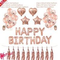 Decoração do partido 1 conjunto feliz aniversário balloons rosa letra ouro folha ballons crianças adultos decorações globos aniversário