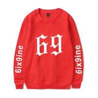 Men's Hoodies & Sweatshirts Rapper 6ix9ine Casual Clothes 2021 Capless Long Sleeves Men women Red Hip Hop Streetwear