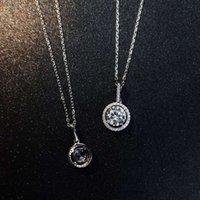 HBP luxury round set with diamond pendant 6.0 versatile S925 silver clavicle chain Korean fashion Necklace