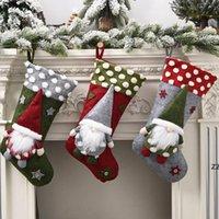 Bas de Noël tricoté Santa Gnome poupée Chaussettes de poupée Xmas Candy Sac à cadeau Arbre Pendentif Accueil Décor Agneau Laine en trois dimensions HWF8979