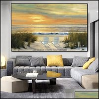 Paintings Arts, Crafts Gifts Home & Gardenpaintings Sunset Sandy Beach Posters And Prints Sea Landscape Canvas Painting Wall Art Pictures Fo