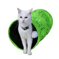 애완 동물 터널 고양이 인쇄 녹색 사랑스러운 거친 새끼 고양이 터널 장난감 재생 재미 장난감 접이식 재생 벌크 고양이 장난감