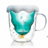 Cute Christmas Tree Mug Double Wall Glass Coffee Cups with Silocone Lid Snowflake Star Xmas Gift Wine Tea Milk Water Tumbler DWA5938