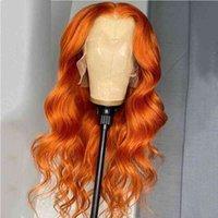 Имбирь оранжевый цветной кузовной волна синтетические кружева передние парики высокотемпературное волокно для чернокожих женщин с детским парикми для волос Cosplay