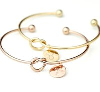 26 letter Rose Gold Silver Gold Love Knot Bracelet women's jewelry personality Round Pendant Chain Bracelet