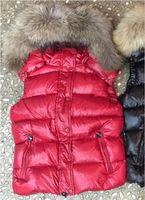 Women Down Nylon Short Vest Black Red Real Fur Attached Hooded Designer Lady Button Side Pockets Zipper Warm Winter Vests