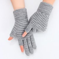 Five Fingers Gloves Women's Winter Touch Screen Thicken Warm Knitted Stretch Imitation Wool Full Finger Mittens Outdoor Skiing