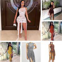 8 Renkler Sıcak Satış Katı Renk Kısa Etek 2021 Bahar Yeni kadın Moda Tasarımcısı Perspektif Mesh Seksi Backless Ince Çanta Kalça Elbise