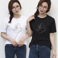 Women's T-Shirt Summer Cotton Top Women Creative Line Art T Shirt Korean Fashion Female Casual Short Sleeve O-neck Ladies Simple Tshirts