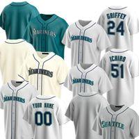 2021 Ken Griffey Jr. Jersey Womens Mitch Haniger 51 Ichiro Suzuki 15 Kyle Seeger 22 Robinson Cano Daniel Vogelbach Baseball Trikots Custom