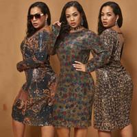 Deep V Halter Tight Sexy Sequin платье XL-5XL женское платье, цепное леопардовое платье в горошек 210603