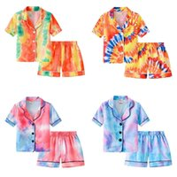 INS Children's Pajamas Sets Fashion Gradient Pajamas Suit Summer Boys Girls Tie Dye Printing Short Sleeve Shorts Home Out Two Piece Set stud