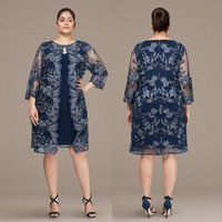 Dark Navy Lace Short Mother Of The Bride Dresses With Jackets Sheath V Neck Long Sleeves Wedding Guest Dress Knee Length Satin Evening Gowns