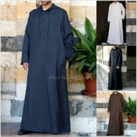Ethnic Clothing 2021 Muslim Robe Hoodies Kaftan Dressing Mens Saudi Arab Dubai Long Sleeve Thobe Arabic Islamic Jubba Man