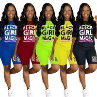Frauen Sportswear Designer Kleidung Trainingsanzug Mode Sommer Kurzarm T-Shirt + Shorts Sportanzug Sexy Druck Zwei Stück Set 5color G3307