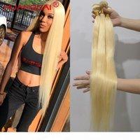 613 금발 36 38 40 인치 브라질 헤어 짜다 번들 스트레이트 100 % 인간의 머리카락 3 4 묶음 자연 색깔의 머리카락 확장