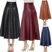 Faldas de cuero de la PU de invierno Mujeres Maxi Womens Largas Cintura Alta Slim Otoño Plisado Plisado Negro XL XXL