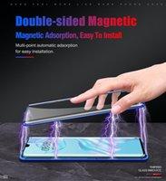 Gehärtetes Glas eingebautes Handy-Gehäuse Magnetic Adsorption Flip Clear Metal Bumper für Huawei P20 P30 Mate20X Nova3e