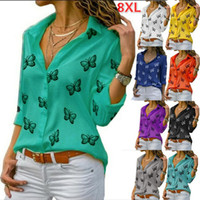 8 Colors Plus Size S to 5XL Women's Multicolors Butterfly Print Loose Lapel Shirt Ladies Tops Tees Shirt Clothing