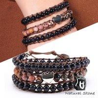 Tennis Handmade Natural Stone Boho Wrap Bracelet Bangle Love Heart Blue Sand Black Line Rhodonite Gem Charm Women Gifts