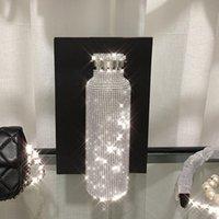 زجاجات المياه تألق زجاجة معزول الراقية بلينغ حجر الراين الفولاذ المقاوم للصدأ الحرارية الماس الحرارية الحرارية مع غطاء