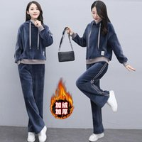 Pantaloni a due pezzi da donna 2021 Primavera autunno set abiti Sweatsuit Suit Femmina Suit Track Ladies Felpe con cappuccio e tuta Q10
