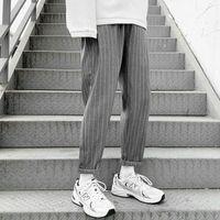 Men's Pants Korean Striped Harem 2021 Streetwear Man Casual Loose Japanese Men Black Gray Retro Plaid Harajuku