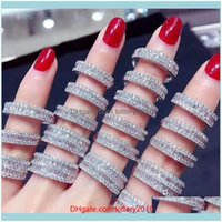 Rings Jewelry Luxury Jewelry 925 Sterling Sier Princess Cut White Topaz Cz Diamond Gemstones Eternity Women Wedding Band Ring Drop Delivery