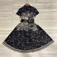 Milan Pisti Elbise Yüksek Sonu Siyah Yıldız Ay Baskı Uzun Kadınlar Elbise 100% Pamuk Kısa Kollu Kemer Elbiseler Bayan 202113