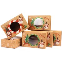 Christmas Kraft Paper Box Biscuit Dessert Storage Tray Rectangle Diy Cookies Wrapping Case Festival Baking Food Packaging Boxes