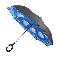 Umbrellas Double Layer Inverted CShaped Handle Reverse Folding Windproof Umbrella Straight Rain