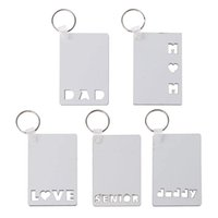Sublimation Blank Keychain Pendant Christmas MDF Double Sided Printing Heat Transfer Keychains Luggage Decoration Keyring DIY Birthday Gift For Dad Mom Baby Love