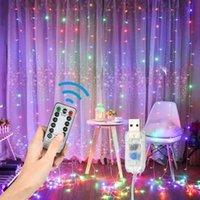8 وضع 300 المصابيح الجنية سلسلة أضواء نافذة ستارة أضواء التحكم عن عكس الضوء USB تعمل بالطاقة شنقا سلسلة ديكور المنزل