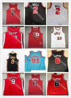 2 Lonzo Ball Zach 8 Lavine Basketball Jersey Derrick 1 Rose 11 DEMAR DEROZAN MENS 23 Dennis 91 Rodman Scottie 33 Pippen rojo blanco Blanco Black Stripe Retro camisa retro