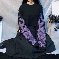 Women's T-Shirt Harajuku Cool Loose Style Black Violet Dragon Embroidery Streetwear Long Sleeve Japanese Big Size T Shirts