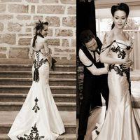 Gothic Mermaid Wedding Dresses 2021 Sweetheart Neckline Lace Applique Satin Custom Made Wedding Bridal Gown Plus Size vestido de novia