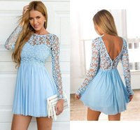 light blue long sleeves cocktail dresses lace prom dress sexy short party occasion Gowns backless