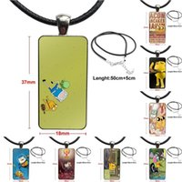 Pendant Necklaces For Girls Jake Dog Keep Calm Bacon Pancakes Glass Cabochon Choker Rectangle Necklace Steel Color Jewelry