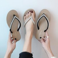Slipper Slippers Women's Outer Wear 2021 Summer Korean-Style All-match Net Red Flat Flip-flops Seaside Crystal Beach