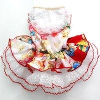 Dog Apparel Pet Wedding Dress Cat Puppy Princess Skirt Clothes Flowers&Lace Design 5 Sizes